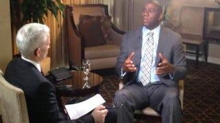 Anderson Cooper interviewing Magic Johnson May 13, 2014CNN Screenshot