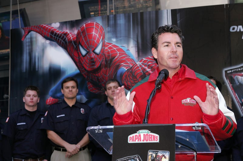 Founder of Papa John's John Schnatter speaks onstage at the Spider-Man and Papa John's Pizza's announcement of 'Hometown Super-Heroes' in Times Square October 29, 2007 in New York City.