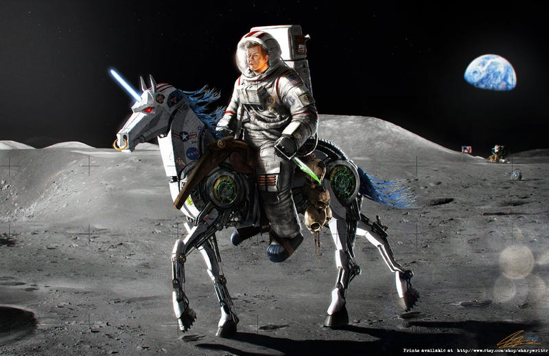 Illustration for article titled And now, JFK riding a robotic unicorn on the Moon