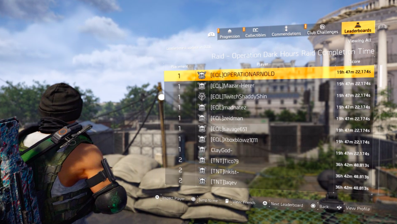 The PS4 raid leaderboard for The Division 2 as of Sunday morning.