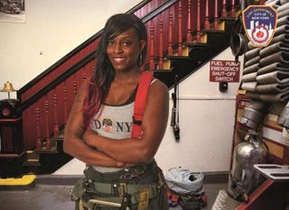 Danae Mines, 11-year veteran firefighter of the South Bronx, N.Y., is the first woman featured in FDNY's Calendar of Heroes.Twitter screenshot