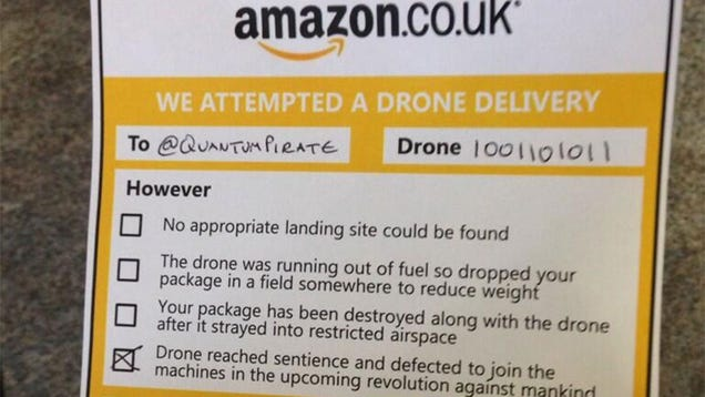 amazon 39 s drone delivery notices will hopefully be a little cheerier. Black Bedroom Furniture Sets. Home Design Ideas