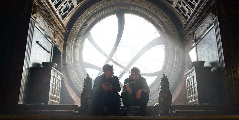 Benedict Cumberbatch and director Scott Derrickson on the set of Doctor Strange. All Images: Disney