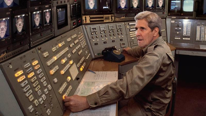 Illustration for article titled John Kerry Scrambles To Stop Bunker's Self-Destruct Sequence As Russian Oligarch Taunts Him From Bank Of Monitors