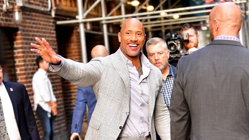 Dwayne Johnson leaves 'The Late Show With Stephen Colbert' at the Ed Sullivan Theater on July 11.