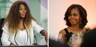Serena Williams (pool/Getty Images); Michelle Obama (Adam Berry/Getty Images)