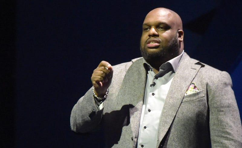 Pastor John Gray speaking at an event in Houston on Feb. 3, 2017 (Marcus Ingram/Getty Images for BET)
