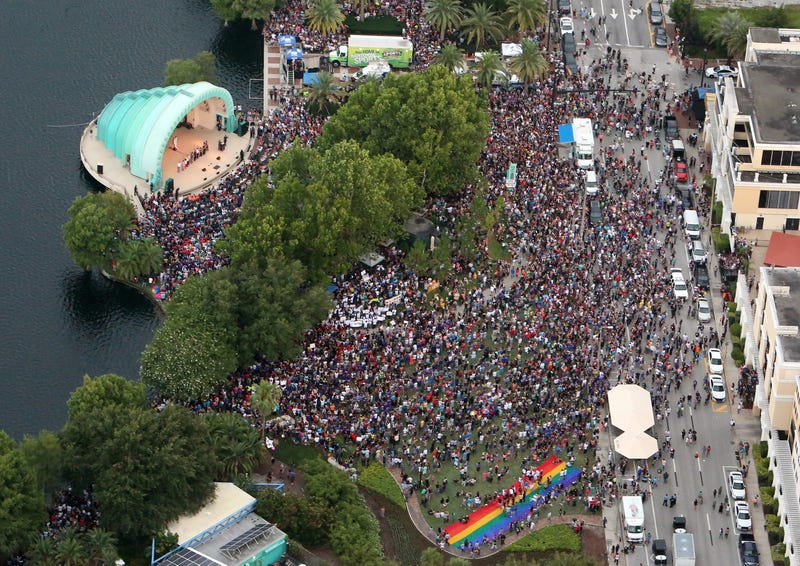 An aerial view of the people who attended a vigil for the victims of the Pulse nightclub shooting in Orlando, Fla., on June 19, 2016Red Huber/Orlando Sentinel/TNS via Getty Images