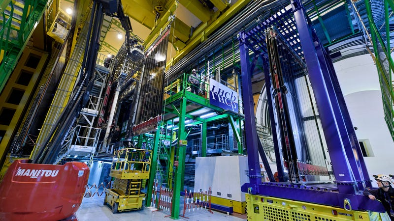 A shot inside the LHCb experimental hall at the Large Hadron Collider.