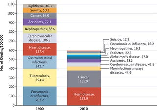 Illustration for article titled Fascinating comparison of the top 10 causes of death in 1900 and 2010