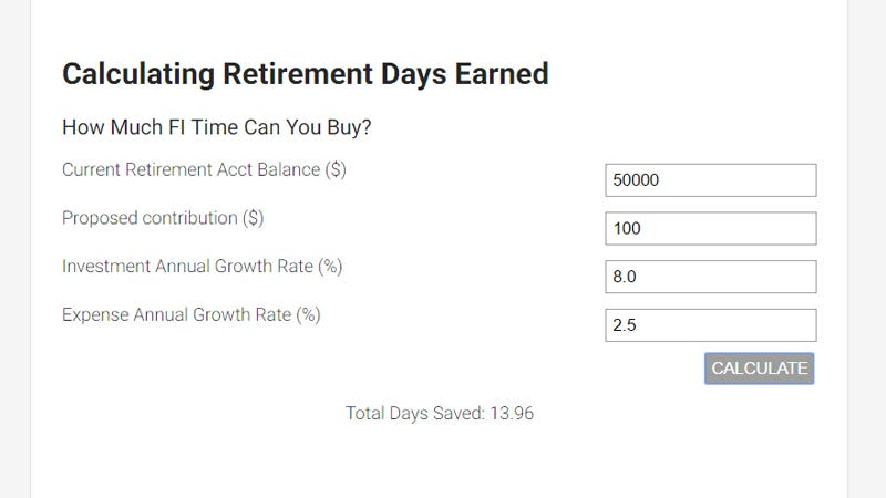 Illustration for article titled Find Out How Many Days of Retirement Your Contributions Can Buy With This Tool