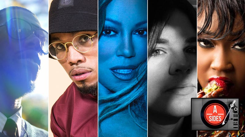 Flying Lotus (Photo: Timothy Saccenti); Anderson Paak (Photo: Israel Ramos); Mariah Carey, Caution cover art; Hollie Fullbrook of Tiny Ruins (Photo: Georgia Craw); and Cupcakke, Eden cover art