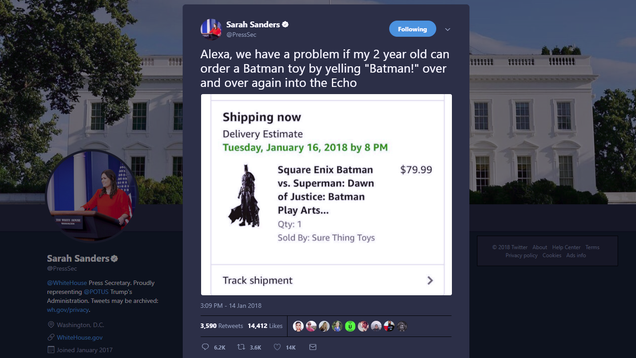 Sarah Huckabee Sanders Is Probably Making Up This Crap About Alexa Ordering a Batman Toy