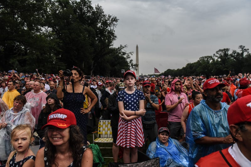 People gather on the National Mall during President Donald Trump's speech during Fourth of July festivities on July 4, 2019 in Washington, DC.