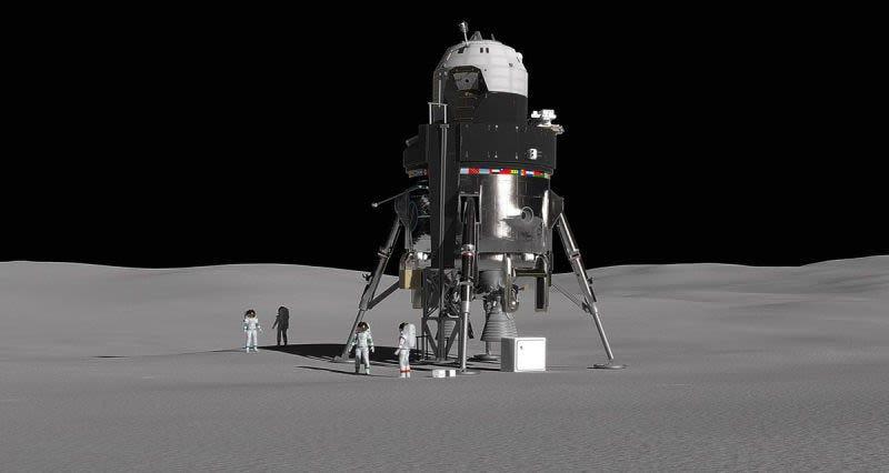 Propuesta de módulo de descenso lunar elaborada por Lockheed Martin.Imagen: Lockheed Martin