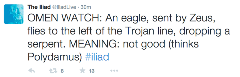 "Illustration for article titled This Livetweeting of ""The Iliad"" Is the Best Thing On the Internet Today"
