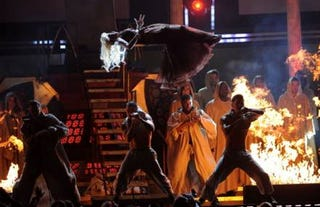Nicki Minaj performs at the 54th Grammy Awards. (Getty)