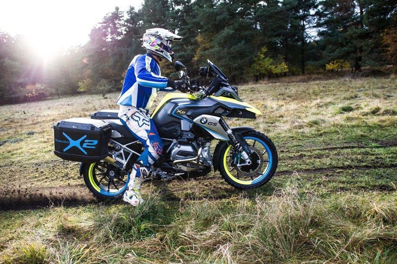 Illustration for article titled This Company Will Build You A Kickass Hybrid Two-Wheel Drive BMW Adventure Bike