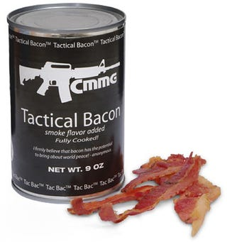 "Illustration for article titled Tactical Canned Bacon Will Be ""Edible"" For 10 Years"