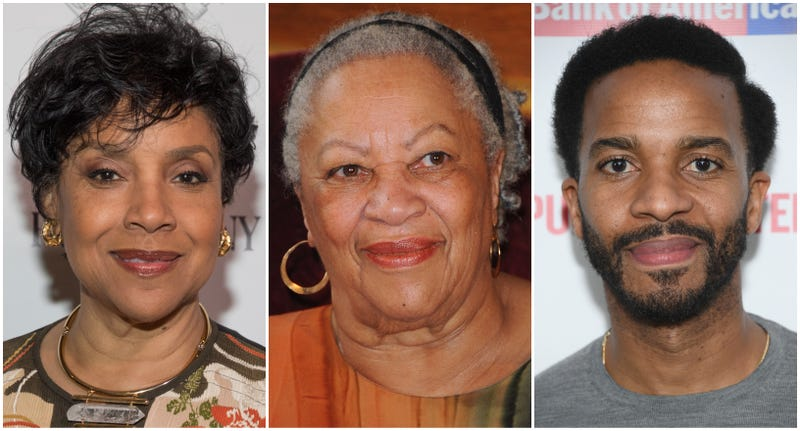 (l-r) Phylicia Rashad attends the Fast Company Grill on March 09, 2019 in Austin, Texas; Toni Morrison receives the Honor Medal of The City of Paris on November 4, 2010 in Paris, France; Andre Holland attends 'White Noise' Opening Night at The Public Theater on March 20, 2019 in New York City.