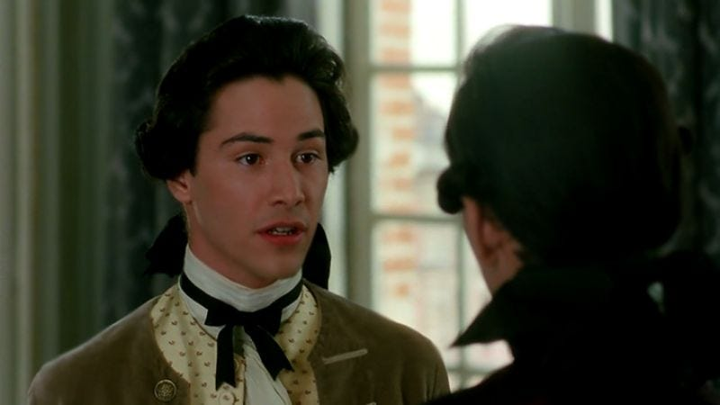 Reeves trying really hard in Dangerous Liaisons (1988)