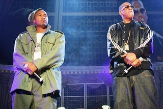 Rappers Nas and Jay Z perform during Power 105.1's Powerhouse 2005: Operation Takeover at the Continental Airlines Arena in East Rutherford, N.J., on Oct. 27, 2005.Scott Gries/Getty Images