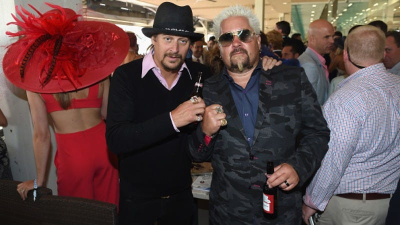 Kid Rock, seen here with the ambassador from Flavortown, Guy Fieri (Photo: Nicholas Hunt/Getty Images for Churchill Downs)
