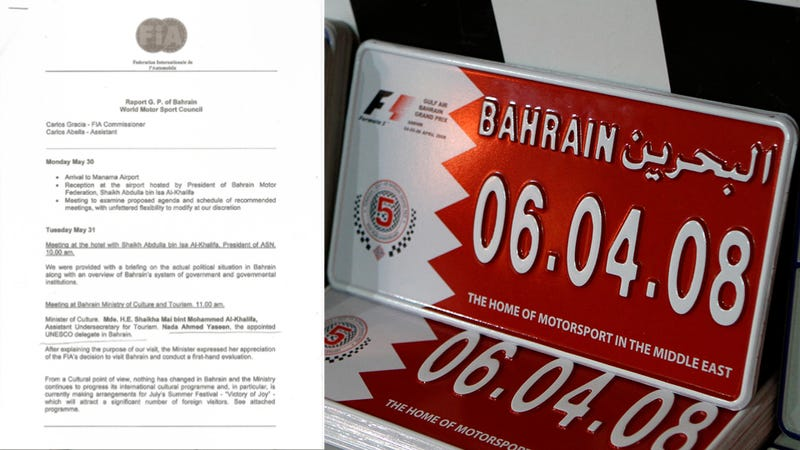 Illustration for article titled Formula 1 black flags Bahrain race after this leaked report