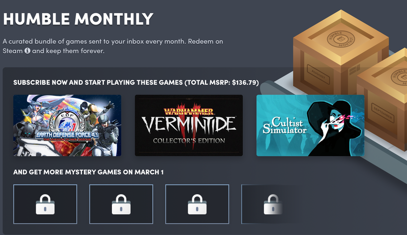 1 Year Humble Monthly + $20 Humble Wallet Credit | $132 | Humble