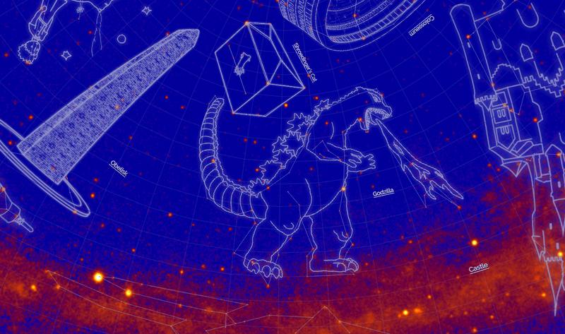 Illustration for article titled La NASA bautiza 21 nuevas constelaciones de rayos gamma con nombres como Hulk, Mjolnir, Tardis y Godzilla
