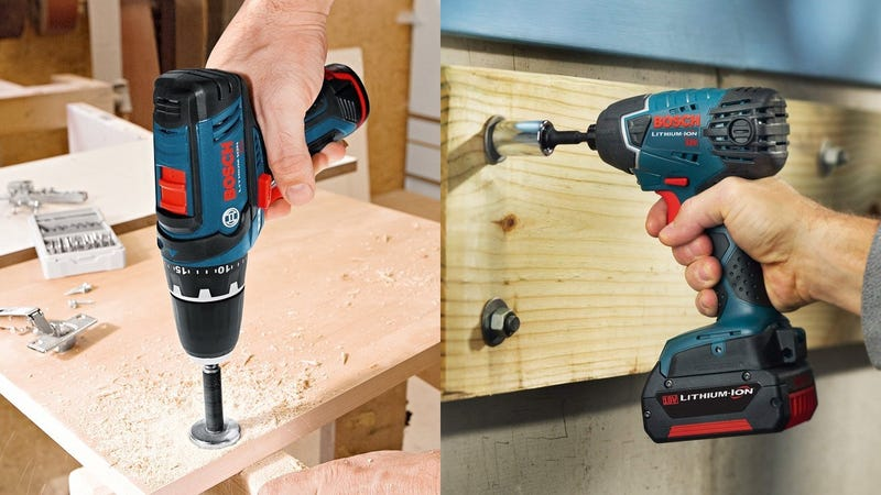 Bosch 12V Drill/Driver + Two Batteries | $79 | AmazonBosch 18V Drill/Driver + Impact Driver + Bonus Tools | $249 | Amazon