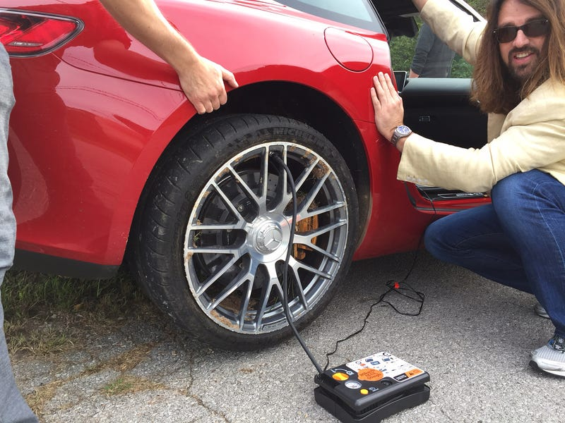 Illustration for article titled How to Fix a Mercedes-AMG Tire With No Tools in the Middle of Nowhere