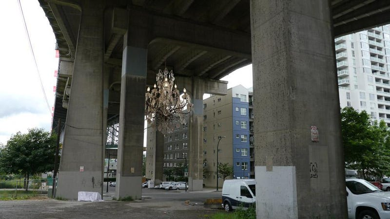 Illustration for article titled One City's Bright Idea for a Dark Highway Overpass: A Huge Chandelier