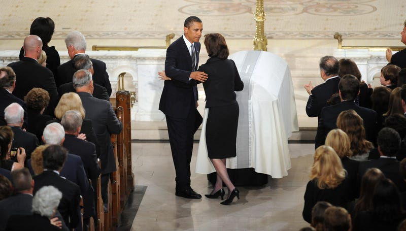 President Obama embraces Ted Kennedy's widow Victoria Kennedy