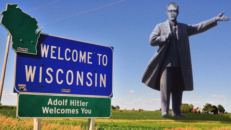 The 400-foot statue of Hitler at the Wisconsin border.