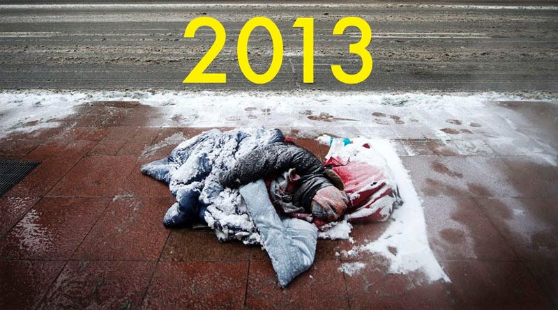 Illustration for article titled This Viral Photo of a Homeless Person Freezing on the Street Is Actually From 2013... in Canada