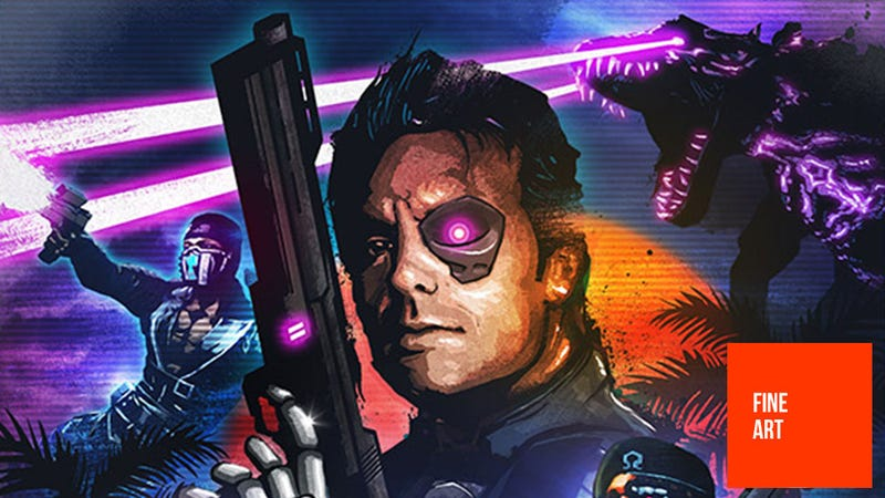 """Illustration for article titled The Man Behind Blood Dragon's 80s-Drenched """"Box Art"""""""