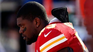Jovan Belcher of the Kansas City Chiefs watches from the sidelines during his final game against the Denver Broncos at Arrowhead Stadium on Nov. 25, 2012, in Kansas City, Mo.Jamie Squire/Getty Images