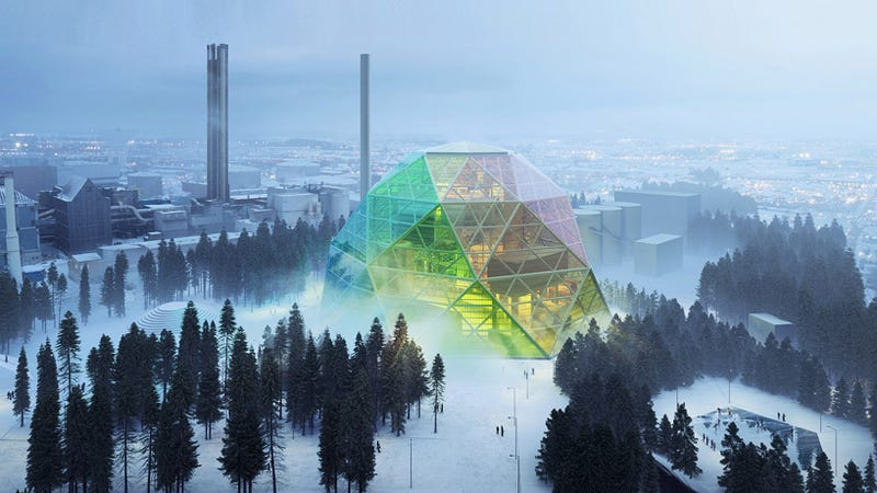 Illustration for article titled This Crazy Geodesic Dome Is Actually a Power Plant