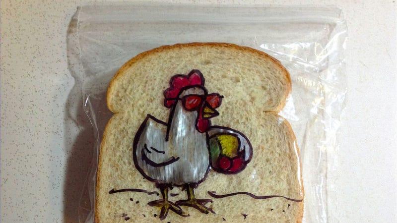 Illustration for article titled Creative Dad Makes the Best Sandwich Bag Doodles