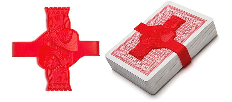 Illustration for article titled Wrangle Loose Decks of Cards With This Kingly Silicone Strap