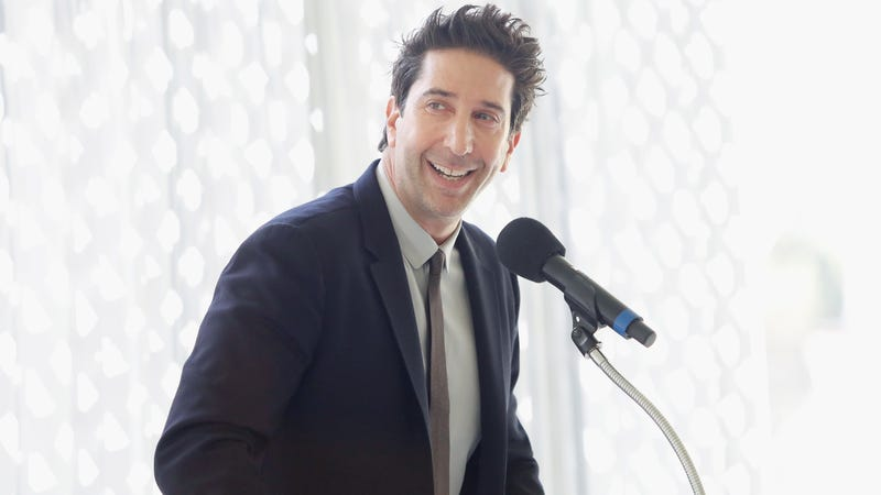 David Schwimmer speaks onstage during The Rape Foundation's Annual Brunch on October 7 in Beverly Hills.