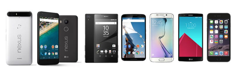 Illustration for article titled Los nuevos Nexus 5X y 6P, comparados con sus principales rivales