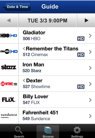 Illustration for article titled DirecTV's iPhone App Browses, Searches and Sets Recordings