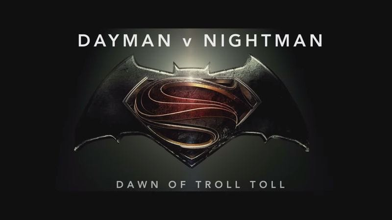 """Illustration for article titled Batman V Superman trailer perfected by adding It's Always Sunny's """"Dayman"""""""