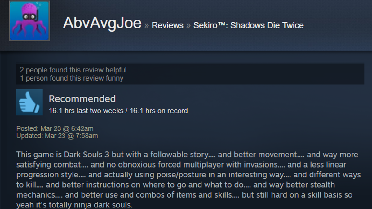 Sekiro: Shadows Die Twice, As Told By Steam Reviews