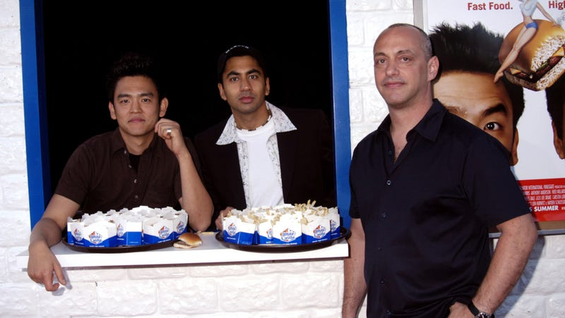 Leiner (right) with Harold And Kumar stars John Cho and Kal Penn