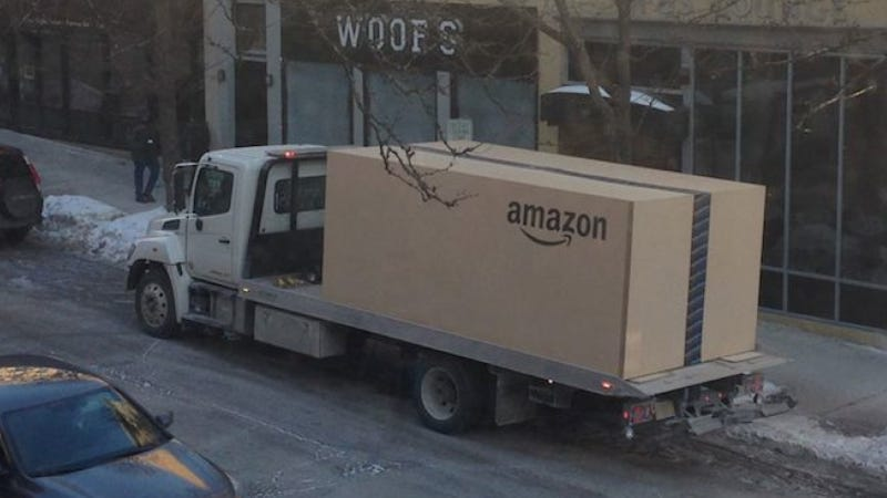 Illustration for article titled What Amazon Delivered In This Giant Flatbed-Sized Box