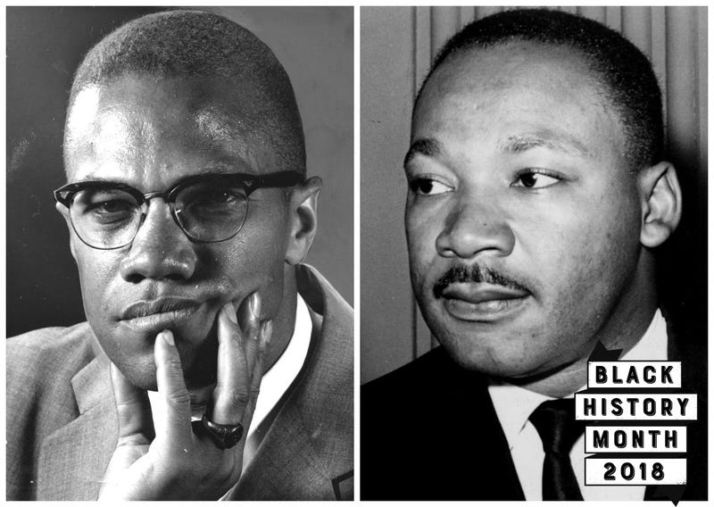 Malcolm X (Afro American Newspapers/Gado/Getty Images); Martin Luther King Jr. (Photo12/UIG via Getty Images)