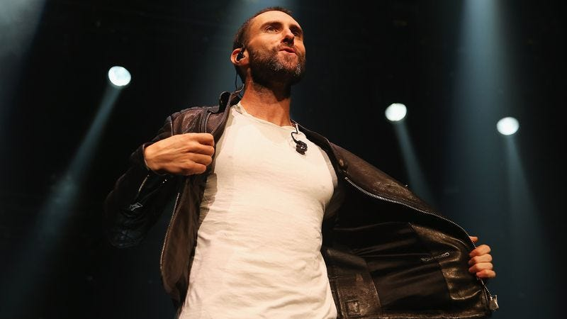 Levine takes it off at a recent show in Australia (Photo: Getty Images)